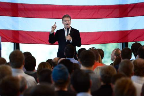 Scott Sommerdorf   |  The Salt Lake Tribune Republican Kentucky Senator Rand Paul visits Utah and speaks at a fundraising event at Alder Home Security in Orem on Saturday.