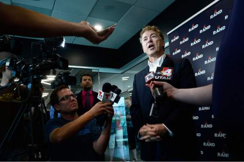 Scott Sommerdorf   |  The Salt Lake Tribune Republican Kentucky Senator Rand Paul speaks to reporters in a quick news conference after he spoke at Alder Home Security in Orem on Saturday.