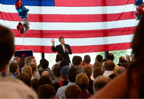 Scott Sommerdorf   |  The Salt Lake Tribune Republican Kentucky Senator Rand Paul visits Utah and speaks at a fundraising event at Alder Home Security in Orem, Saturday, August 29, 2015.