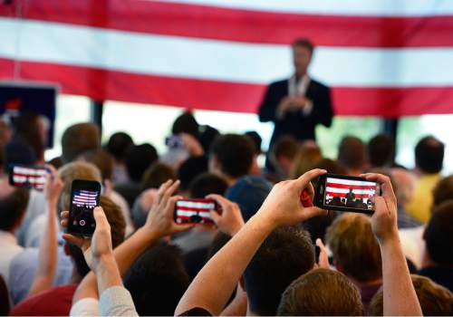 Scott Sommerdorf   |  The Salt Lake Tribune Supporters make photos of Republican Kentucky Senator Rand Paul as he visits Utah and speaks at a fundraising event at Alder Home Security in Orem, Saturday, August 29, 2015.