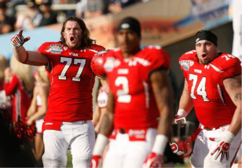 Trent Nelson  |  The Salt Lake Tribune Utah's John Cullen (77) Kenneth Scott (2) and Sam Brenner react to play in the fourth quarter as the University of Utah faces Georgia Tech, college football at the Sun Bowl in El Paso, Texas, Saturday, December 31, 2011.