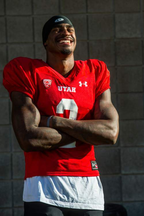 Chris Detrick  |  The Salt Lake Tribune Utah Utes wide receiver Kenneth Scott (2) poses for a portrait after a practice at Rice-Eccles Stadium Tuesday September 2, 2014.