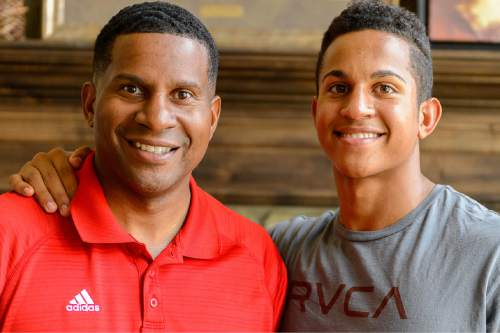 Trent Nelson  |  The Salt Lake Tribune Lone Peak guard Frank Jackson is the best high school basketball player in the state and one of the top-20 recruits in the nation (ranked 14th overall by ESPN). As the summer before his senior season winds down, Jackson is weighing his many options and will soon pick from a list of schools that includes Duke, Stanford, Utah and BYU. Jackson, right, was photographed with his father, Sen. Al Jackson, at his home in Highland, Wednesday August 26, 2015.