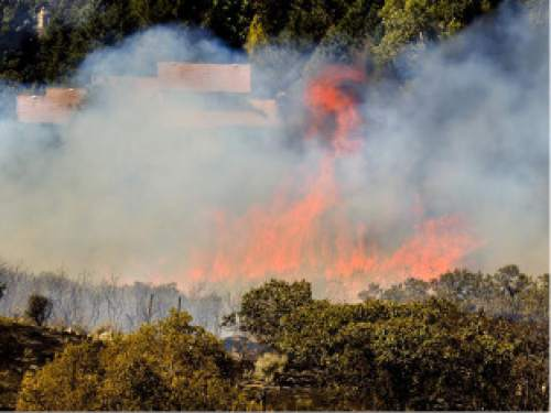 Trent Nelson I The Salt Lake Tribune A field fire forces evacuations in Cottonwood Heights as Unified Fire Authority crews battle a grass and brush fire near a water treatment plant at 3480 E. Danish Road (8890 South). As a precaution, about 30 homes were evacuated.