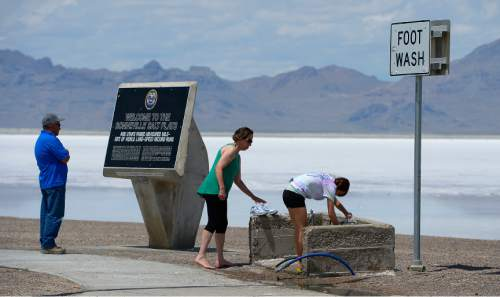 Leah Hogsten  |  The Salt Lake Tribune Although visitors to the I-80 rest stop learn about the salt flats' racing history and get a chance to walk out onto the flats, racing and speed enthusiasts wonder whether speed weeks will continue. Levels of salt at the Bonneville Salt Flats are depleting rapidly. Many mineral extraction companies use salt from the flats, diverting the lake's natural water supply, affecting already record low lake water levels. All of these factors contribute to lack of salt on the salt flats that recharge naturally by regular flooding and ebb and flow of the salt water.
