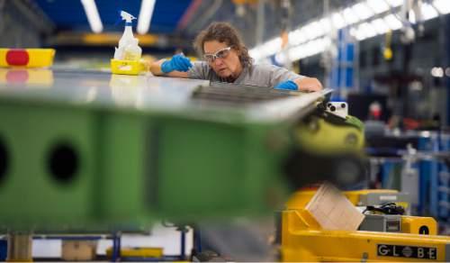 Steve Griffin     The Salt Lake Tribune  Mechanic Darcy Vordos work on a vertical fin assembly for a Boeing 787 Dreamliner at Boeing in Salt Lake City, Thursday, September 3, 2015.