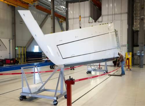 Steve Griffin     The Salt Lake Tribune  A completed horizontal stabilizer for a Boeing 787 Dreamliner at Boeing in Salt Lake City, Thursday, September 3, 2015.
