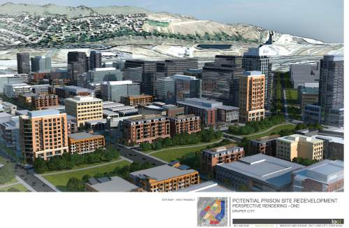 |  Draper City  Draper City paid for this rendering of what could be constructed on the prison land, but Mayor Troy Walker now wants it to be even bigger, talking about his desire for 50-story buildings.