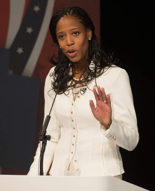 Steve Griffin  |  The Salt Lake Tribune   Mia Love addresses the audience as she debates Doug Owens, in Utah's premier congressional matchup in the 4th district at the Dolores Doré Eccles Broadcast Center on the University of Utah campus in Salt Lake City, Tuesday, October 14, 2014.