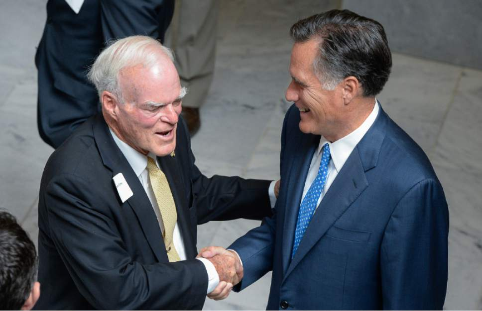 Francisco Kjolseth | The Salt Lake Tribune Spencer Eccles, left, meets with former Governor Mitt Romney, as they join the announcement by the University of Utah of the formation of the Kem C. Gardner Policy Institute during a luncheon at the Utah Capitol on Wed. Sept. 2015. Named in honor of businessman and philanthropist Kem Gardner, the institute aims to gather thought leaders to help develop public policy to better serve Utah.