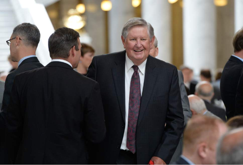 Francisco Kjolseth | The Salt Lake Tribune Named in honor of businessman and philanthropist Kem Gardner, center, the University of Utah officially launches the formation of the Kem C. Gardner Policy Institute during a luncheon at the Utah Capitol on Wed. Sept. 2015. The institute aims to gather thought leaders to help develop public policy to better serve Utah.