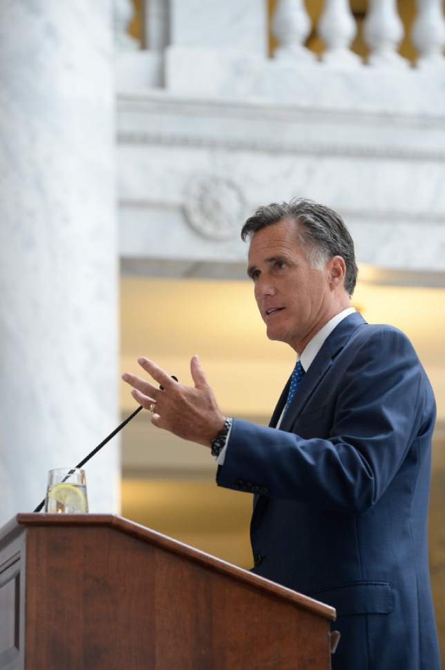 Francisco Kjolseth | The Salt Lake Tribune Former Governor Mitt Romney, speaks during an announcement by the University of Utah of the formation of the Kem C. Gardner Policy Institute during a luncheon at the Utah Capitol on Wed. Sept. 2015. Named in honor of businessman and philanthropist Kem Gardner, the institute aims to gather thought leaders to help develop public policy to better serve Utah.