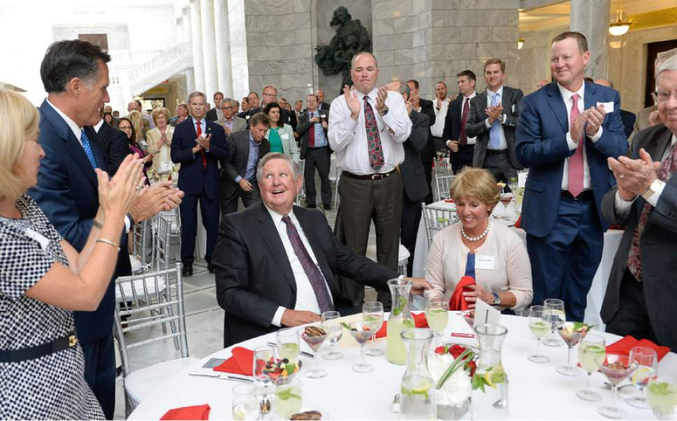 Francisco Kjolseth | The Salt Lake Tribune Named in honor of businessman and philanthropist Kem Gardner, alongside his wife Carolyn, the University of Utah officially launches the formation of the Kem C. Gardner Policy Institute during a luncheon at the Utah Capitol on Wed. Sept. 2015. The institute aims to gather thought leaders to help develop public policy to better serve Utah.