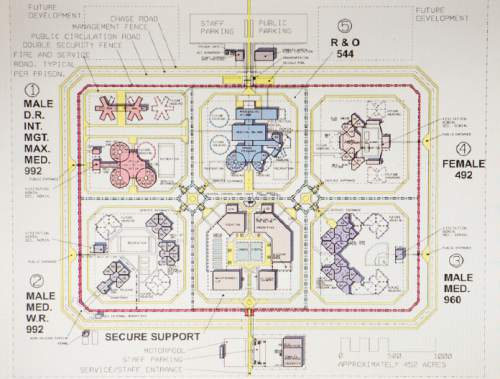 Steve Griffin  |  The Salt Lake Tribune   Drawing of what Utah's new prison could look like is displayed during the Prison Relocation Commission's meeting where preliminary reports on the four sites under consideration where received, at the Utah State Capitol House Building in Salt Lake City, Thursday, July 16, 2015.