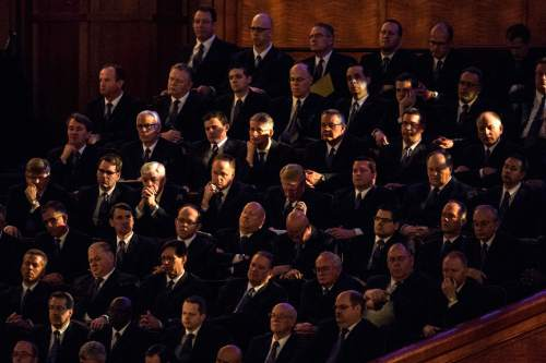 Chris Detrick  |  The Salt Lake Tribune Members of the Mormon Tabernacle Choir listen as Linda K. Burton, Relief Society general president, speaks during the 185th Annual LDS General Conference Saturday April 4, 2015.