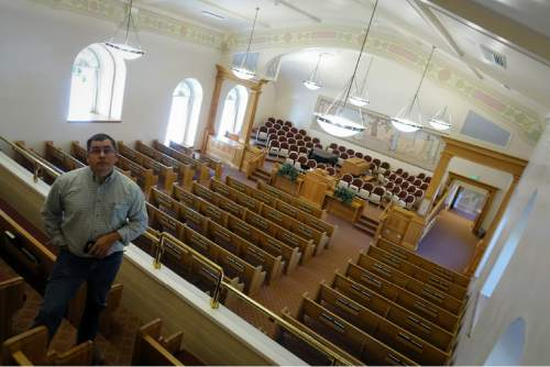 Lennie Mahler  |  The Salt Lake Tribune Facilities Manager Matt Christensen tours the newly-restored LDS Tabernacle on Main Street in Manti, Utah, on Friday. The Tabernacle will be open to the public for viewing Saturday and Sunday from 3-7 p.m.