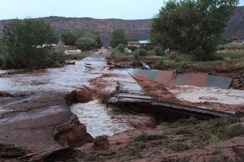 Courtesy  |  Washington County Sheriff's Office  The Flash flooding in Hildale, Utah, continued to September 14, 2015. The flooding stated monday and has caused at least nine deaths deaths.