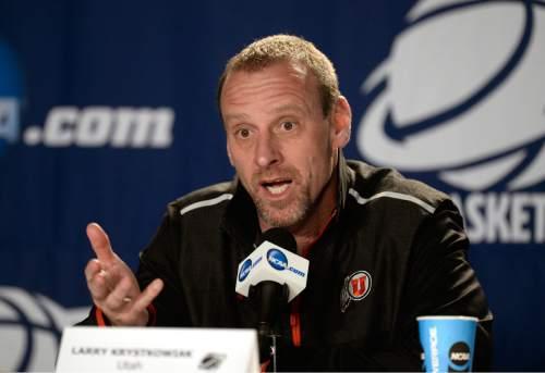 Scott Sommerdorf   |  The Salt Lake Tribune Utah Utes head coach Larry Krystkowiak speaks during the Utah interview session, Friday, March 20, 2015.