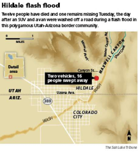 Hildale flash flood  Twelve people have died and one remains missing Tuesday, the day after an SUV and a van were washed off a road during a flash flood in this polygamous Utah-Arizona border community.