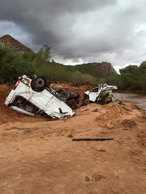 Courtesy  |  Guy Timpson  Flash flooding in Hildale, Utah, caused at least nine deaths deaths Monday, Sept. 14, 2015.
