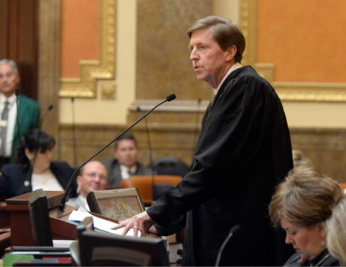 Al Hartmann  |  The Salt Lake Tribune Matthew Durrant, chief justice of the Utah Supreme Court, gives the annual State of the Judiciary address in the Utah House of Representatives Monday Jan. 26, 2015.