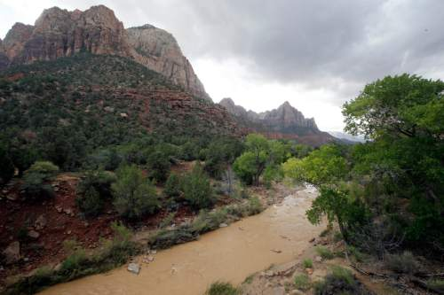 The Virgin River is shown Wednesday, Sept. 16, 2015, in Zion National Park, near Springdale, Utah. Seven hikers who entered a narrow desert canyon for a day of canyoneering became trapped when a flash flood filled the chasm with water, killing at least five of them in Zion National Park in southern Utah, officials said Wednesday.   (AP Photo/Rick Bowmer)