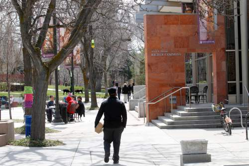 Al Hartmann     The Salt Lake Tribune  Students gather on the commons on the Westminster College campus.
