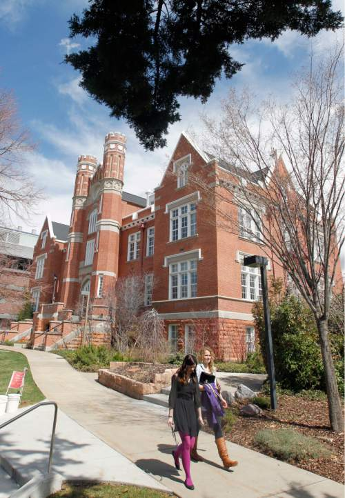 Al Hartmann     The Salt Lake Tribune  Students walk through the commons past Converse Hall on the Westminster College campus.