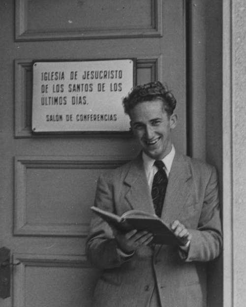 Courtesy  |  The Church of Jesus Christ of Latter-day Saints  Elder Richard G. Scott on his mission, in the Uruguay Montevideo Mission, from 1950 to 1953.