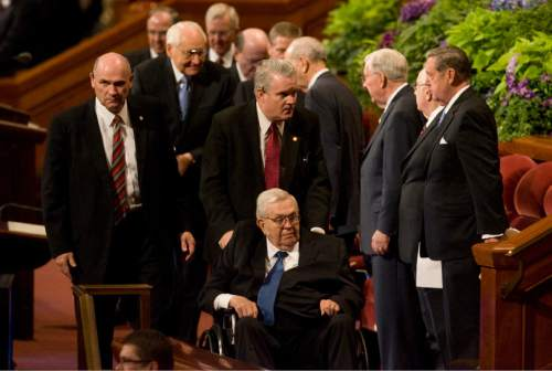 Kim Raff   |  The Salt Lake Tribune  Boyd K. Packer, of the Quorum of the Twelve Apostles, leaves the morning session of the 182nd Semiannual General Conference of The Church of Jesus Christ of Latter-day Saints in Salt Lake City on Sunday, October 7, 2012.