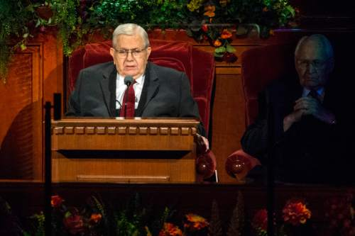 Chris Detrick  |  The Salt Lake Tribune Boyd K. Packer, President of the Quorum of the Twelve Apostles, speaks during the morning session of the 184th Semiannual General Conference of The Church of Jesus Christ of Latter-day Saints at the Conference Center in Salt Lake City Saturday October 4, 2014.