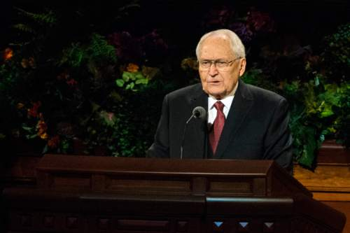 Chris Detrick  |  The Salt Lake Tribune L. Tom Perry, Quorum of the Twelve Apostles, speaks during the afternoon session of the 184th Semiannual General Conference of The Church of Jesus Christ of Latter-day Saints at the Conference Center in Salt Lake City Saturday October 4, 2014.
