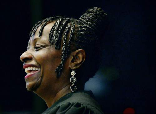 Steve Griffin     The Salt Lake Tribune  Salt Lake County Justice Court Judge Shauna Graves-Robertson smiles as she talks to students at Nibley Park Elementary during their 6th annual History Makers program in Salt Lake City, Thursday, September 24, 2015.