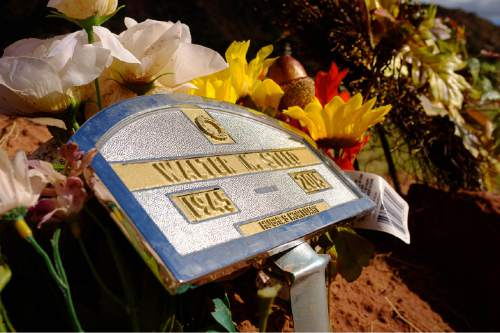 Trent Nelson     The Salt Lake Tribune Walter Steed's grave at the Isaac W Carling Memorial Park Cemetery in Colorado City, Arizona, Wednesday September 16, 2015.