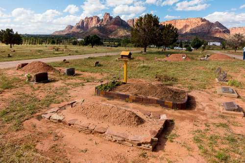 Trent Nelson     The Salt Lake Tribune Graves in the Isaac W Carling Memorial Park Cemetery in Colorado City, Arizona, Wednesday September 16, 2015.