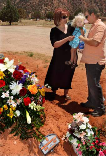 "Colorado City - Left to right: Cheryl Lauritzen-Hawker, Dakota Lauritzen, and Chad Lauritzen at the grave of Norene Jeffs as friends and family members of Norene Jeffs gathered in the Colorado City cemetery to remember this plural wife, who had been buried the previous week in a secret funeral by members of the Fundamentalist Church of Jesus Chris of Latter-Day Saints (FLDS). Jeffs, who had been ""sealed"" to the previous FLDS prophet Rulon Jeffs (Warren Jeffs' father), was buried even before family members exiled from the secretive church were notified of her death. Trent Nelson/The Salt Lake Tribune; 7.09.2007"