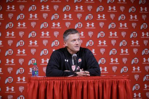 Utah head coach Kyle Whittingham speaks with reporters during national signing day Wednesday, Feb. 4, 2015, in Salt Lake City. Whittingham knew his team was short-handed at several key positions after the 2014 season and set out to address them with the 2015 recruiting class. The Utes signed 20 new players to letters of intent during Wednesday's Signing Day and 14 of those will suit up on the offensive line, at receiver and in the defensive secondary. (AP Photo/Rick Bowmer)