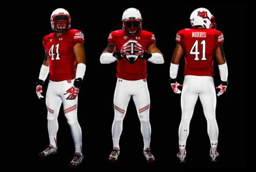 The Utes have unveiled a new throwback jersey that features an interlocking U helmet, stripes on the pants, and a classic jersey font.  Courtesy  |  University of Utah Athletics