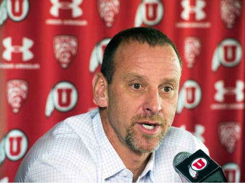 Steve Griffin  |  The Salt Lake Tribune  University of Utah head men's basketball coach Larry Krystkowiak talks to the press during media day at the Huntsman Center on the University of Utah campus in Salt Lake City, Monday, October 6, 2014.