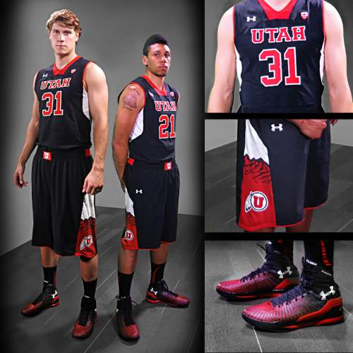 | Courtesy Utah athletics  Dallin Bachynski and Jordan Loveridge pose in the black variation of Utah men's basketball uniforms. The new outfits, designed by Under Armour, will be worn for the 2014 season.