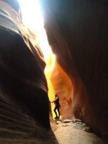 Adrienne Bossi  |  Courtesy  A hiker walks through keyhole canyon.