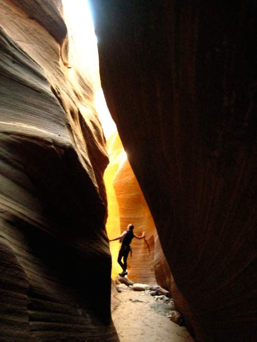 Adrienne Bossi  |  Courtesy  Rhys Evans in Keyhole Canyon in Zion National Park.