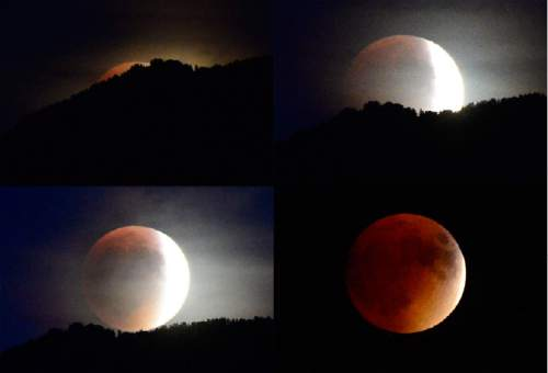 "Scott Sommerdorf   |  The Salt Lake Tribune A panel of four photos showing the progress of the ""Blood Moon"" eclipse as seem from Millcreek, Sunday, September 26, 2015, before cloud cover obscured the view."