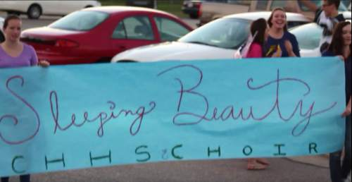 Courtesy     Copper Hills High School  Disney-themed floats at Copper Hills High School's homecoming parade Thursday.