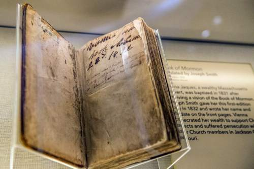 Chris Detrick  |  The Salt Lake Tribune The Book of Mormon in the LDS Church History Museum in Salt Lake City Tuesday September 29, 2015.  The LDS Church History Museum is re-opening after a year-long renovation on Wed, Sept 30.