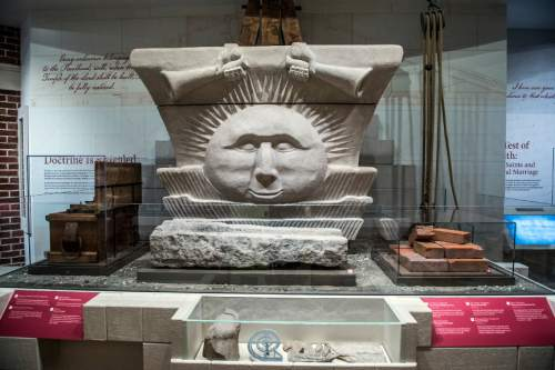 Chris Detrick  |  The Salt Lake Tribune Artifacts from the Nuavoo Temple in the LDS Church History Museum in Salt Lake City Tuesday September 29, 2015.  The LDS Church History Museum is re-opening after a year-long renovation on Wed, Sept 30.