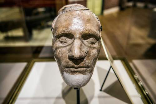 Chris Detrick  |  The Salt Lake Tribune The death mask of Hyrum Smith in the LDS Church History Museum in Salt Lake City Tuesday September 29, 2015.  The LDS Church History Museum is re-opening after a year-long renovation on Wed, Sept 30.