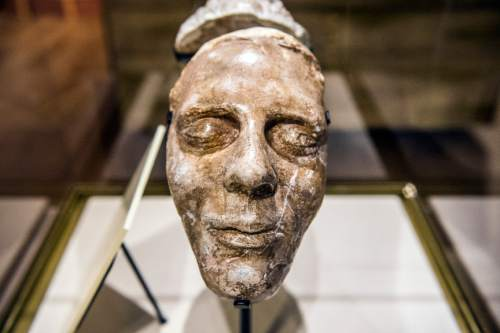 Chris Detrick  |  The Salt Lake Tribune The death mask of Joseph Smith in the LDS Church History Museum in Salt Lake City Tuesday September 29, 2015.  The LDS Church History Museum is re-opening after a year-long renovation on Wed, Sept 30.