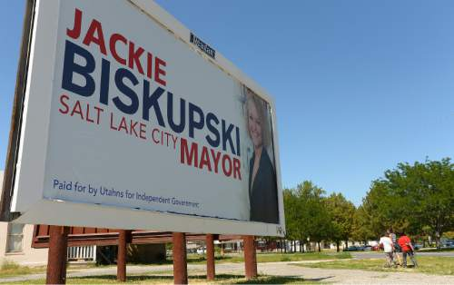 Leah Hogsten  |  The Salt Lake Tribune A political action committee created by Reagan Outdoor Advertising -- Utahns for Independent Government -- is putting up billboards around Salt Lake City supporting Jackie Biskupski for mayor, July 15, 2015.