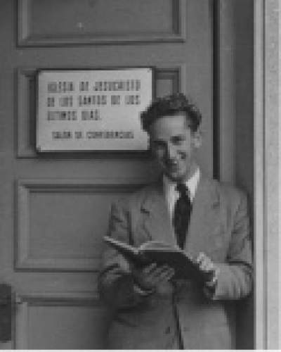 photo courtesy The Church of Jesus Christ of Latter-day Saints  Elder Richard G. Scott on his mission, in the Uruguay Montevideo Mission, from 1950 to 1953.